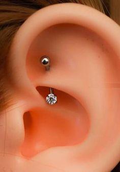 Swarovski Crystal Rook Piercing Jewelry - 16G Curved Barbell - Simple Daith Ear Piercing Ideas at MyBodiArt.com