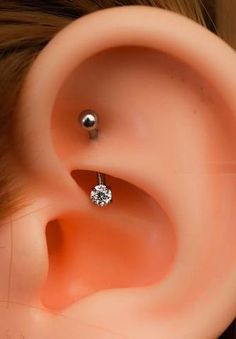 Swarovski Crystal Rook Piercing Jewelry - 16G Curved Barbell - Simple Daith Ear Piercing Ideas at MyBodiArt.com