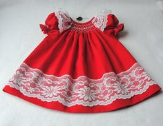 Smocked Baby dress Smocked Christmas Dress by ittybittycouture