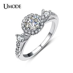 Anillos Luxury White Gold Plated Top Grade CZ Simulated Halo Engagement Rings For Women Wedding Jewelry AUR0151