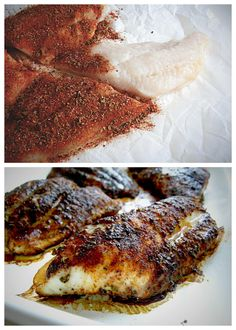 Blackened Catfish- steaks @ 375 Sprinkle sparingly- delicious but SPICY! Seafood Dinner, Fish And Seafood, Fresh Seafood, Blackened Recipe, Seafood Recipes, Cooking Recipes, Cooking Fish, Cajun Recipes, Keto Recipes