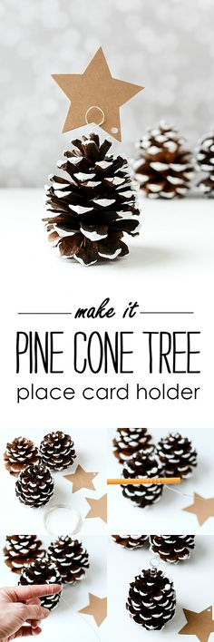 Pine Cone Christmas Tree Place Card Holders @It All Started With Paint #sponsored #WhenToWine
