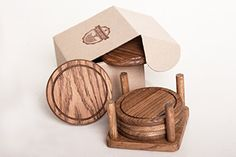 Lucky Oak Coasters Set of 6 with Holder-For Drinks and any Beverages-Real European Oak Wood-Fine Rustic Furniture for Kitchen or Bars-Premium Protect From Water Marks