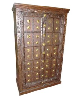 India Antique Cabinet Armoire With Brass Medallion Eclectic Furniture, Indian Furniture, Rustic Furniture, Antique Furniture, Armoire Cabinet, Cabinet Furniture, Antique Cabinets, Wood Cabinets, Indian Bedding