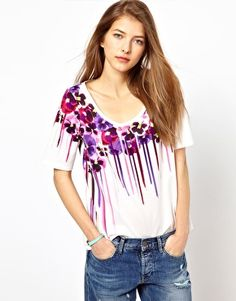 Enlarge Paul by Paul Smith Oversized Tee in Dripping Floral Print
