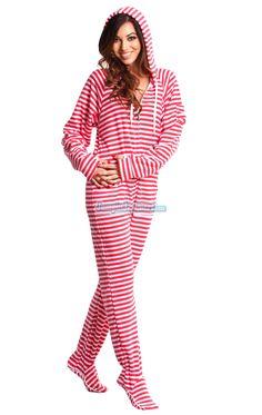 Pink Candy Stripes - Adult Hoodie Footie pajamas