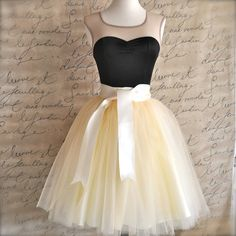 Ivory short tulle skirt. Fluffy tulle layers with circle skirt satin lining.  Your choice of length, tulle  ribbon sash color