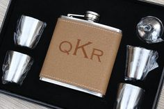 Customized Leather Flask Set, Personalized Wedding Gift, Groomsmen Gifts, Personalized Flask, Wedding Presents, Will you be my Groomsman? $19.99