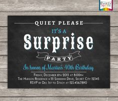 Adult Surprise Birthday Invite Male Birthday Invitations