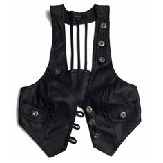 Black Leather Harness Style Vest Really unique vegan leather harness style vest. Very futuristic and post apocalyptic. The pockets on front are not functioning, allowing for more of a firm fit. Great worn open or closed. Pair over a flowy top or wear on its own. Decorative brass tone buttons adorn the vest in areas. Metal buckle on back with three harness straps. Not F21. Brand is Paper Tee. Pairs well with Unif, Deandri, Free People, Tripp, Demonia, Lip Service, etc... • Goth • Punk • Boho…