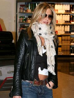 Leather jacket, scarf, aviators and jeans yes, my belly exposed no thanks