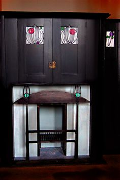Hearth by Charles Rennie Mackintosh, House for an Art Lover, Glasgow, Scotland