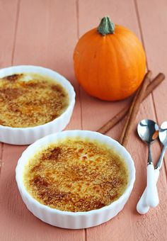 Pumpkin Creme Brulee for Two // like a really creamy pumpkin pie with crunch.  Excellent and very easy dessert