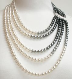 Pearl bib necklace, pearl statement necklace, multistrand pearl necklace, gray pearl necklace, gift for wife - Doris Pearl Beads, Pearl Jewelry, Beaded Jewelry, Jewelery, Fine Jewelry, Handmade Jewelry, Jewelry Necklaces, Jewelry Making, Pearl Necklaces