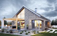 Casas 32 Picture of the project Dream 9 Keep Everything Coming Up Roses A great way to exper Bungalow House Design, Modern House Design, Bungalow Exterior, Dream Home Design, Home Design Plans, Construction Cost, Facade House, Home Fashion, Exterior Design