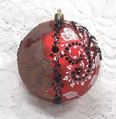 Red Double Design Hand Painted 3D MUD Roses Ornament with Bling (LG) 378