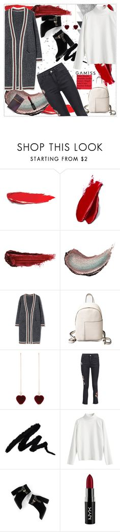 """""""GAMISS: White Double Shoulder Ladies Leisure Simple Solid Color Student School Bag 18"""" by fashionaddict-il ❤ liked on Polyvore featuring Balmain, By Terry, Butter London, NYX and Elizabeth and James"""