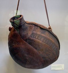 Leather bottle from the Dublin Museum. Date is 6-10th c based on the decoration, photo by Matt Bunker.