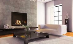Interior. Remarkable Fireplace Decor For Your Homes. Fireplace Decor Theme Featuring Gas Fireplace Design And Black Square Fire Box Plus Dark Concrete Wall Along With Wooden Varnishing Long Shelves As Well As White Leather Couch Plus Square Wood Coffee Table As Well As White Fur Rug As Well As Laminate Timber Flooring