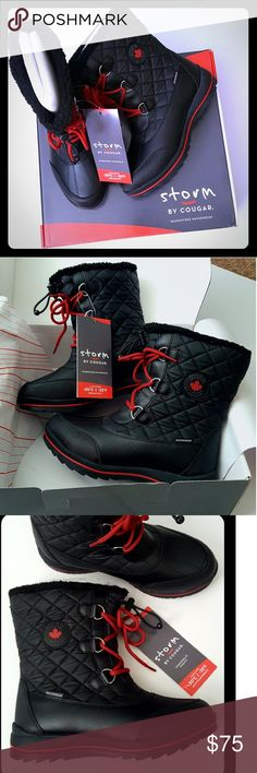 NEW IN BOX! RAIN/SNOW/COLD WEATHER BOOTS NEW IN BOX!! WATERPROOF!! *** Rain/Snow/Cold weather boots ***  Quilted winter boots. Great in weather to -22° F .... Waterproof and warm.   Light weight and attractive with red and black accents.   Size 8 Storm By Cougar Shoes Winter & Rain Boots