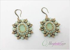 Gonzaga earrings tutorial. DIY pattern, earrings, superduo beads, swarovski crystals