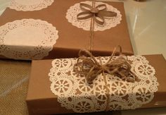 Doilies and brown paper wrapping