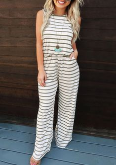 Costbuys Hot Selling Sexy Jumpsuit Accidental Ladies Womens Striped Estice Wiast Wid Leg Jumpsuits For Women Rompers Womens Jumpsuit Rompers Womens Jumpsuits Striped Jumpsuit, Floral Jumpsuit, Cool Outfits, Casual Outfits, Fashion Outfits, Amazing Outfits, Fashion Hacks, Women's Fashion, Fashion Trends