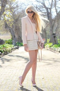 A gorgeous palette of nudes and ivories is ultra-feminine but also a very strong look. Love the hint of peplum in this jacked and the lace patterned skirt! Pink Blazer Outfits, Chicwish Skirt, Look Fashion, Womens Fashion, Modern Fashion, Fashion Ideas, Fashion Tips, Fashion Trends, Street Style 2017
