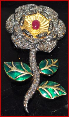"""""""Patchette"""" Price: $800    5.30ct ROSE CUT DIAMOND RUBY VICTORIAN ENAMEL ROSE BROOCH ♥    Signature Victorian Collection....known for its international taste and appeal!    Imported, world-class quality, not pre-owned, not pawned, not stolen. WE DELIVER WORLDWIDE ♥"""