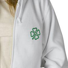 4 Leaf Clover Embroidered Ladies Zip Hoodie