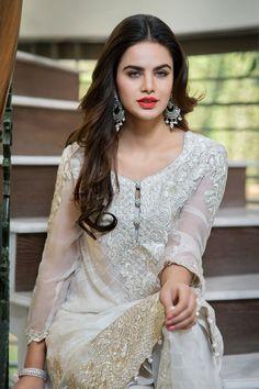 Pakistani Dress- Pearl White Iznik 2016 Chiffon Original Dress with Cigarette Pants Size Small Pakistani,Indian,Bollywood Shalwar Kameez by KaamdaniCouture on Etsy