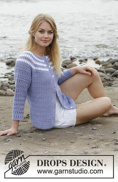 Meet Me in Provence Cardigan - Jacket with lace pattern and stripes, crocheted top down. Size: S - XXXL Piece is crocheted in DROPS Safran. - Free pattern by DROPS Design Gilet Crochet, Crochet Coat, Crochet Cardigan Pattern, Crochet Jacket, Crochet Blouse, Crochet Clothes, Drops Design, Knitting Patterns Free, Crochet Patterns