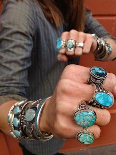 turquoise rings #boho