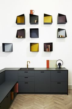 The asymmetrical and colourful addition of the Wall Boxes designed by Ludvig Storm at Please Wait To Be Seated. Photo courtesy of PWTBS. Interior Desing, Interior Design Kitchen, Interior Design Inspiration, Interior Architecture, Kitchen Dinning, Kitchen Decor, Kitchen Ideas, Kitchen Cupboard, Dining