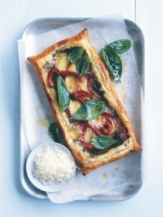red pepper, mozzarella + basil tart
