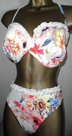 3e47a7c544 SEXY LADIES GEORGE WHITE MIX PADDED WIRED HALTERNECK BIKINI SET SIZE 34D DD- 18
