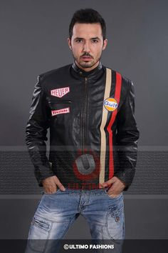 1971 Le Mans Grand Prix Slim Fit Motorcycle Leather Jacket  This leather jacket is one classy racers jacket that can make your racing a real adventure. This jacket has been inspired by Steve McQueen from the blockbuster movie Le Mans in 1971. This jackethas been made from real high quality lea