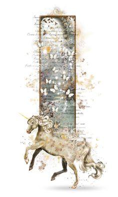 """Unicorn"" by girlinthebigbox ❤ liked on Polyvore featuring art, fantasy, legend, unicorn and mythology"