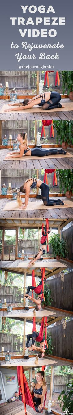 Release & rejuvenate your back with a simple & strong yoga trapeze video! Save now, flow later!
