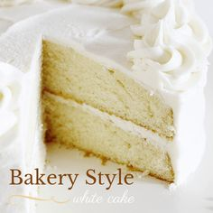 The is the BEST bakery white cake! I have sampled dozens of recipes to find a white cake that was lovely and moist and light, and this is it! Homade Cake Recipe, Sugar Cookies Recipe, Bakery Style Cake, Bakery Cakes, Mini Cakes, Cupcake Cakes, Bundt Cakes, Delicious Desserts, Dessert Recipes