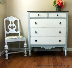 The 36th AVENUE | 23 DIY Home Projects. Paint dresser and drawers, spray paint drawer pulls.