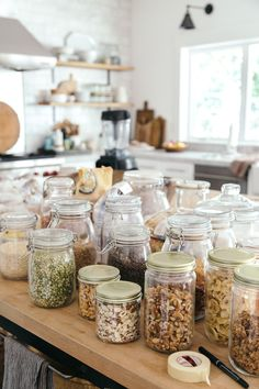 Organize the Pantry - Take Inventory (shelf by shelf) & Sort Make 2 Lists: food that needs to be restocked/purchased; Containers to hold the food Bottles And Jars, Glass Jars, Pantry Baskets, Seagrass Storage Baskets, Spice Drawer, Baking Items, Shampoo Bottles, Touch Up Paint, Snack Recipes