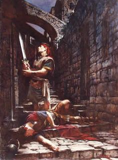 Painting by Walter Rane of Nephi finding Laban.