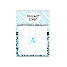 INSTANT DOWNLOAD - Blue Giraffe Baby Shower Bingo Cards - Zebra Leopard Jungle Baby Shower Games Party Activities Games Baby Gift Bingo
