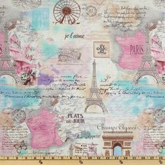 Timeless Treasures April In Paris Collage Pastel from @fabricdotcom  Designed for Timeless Treasures, this cotton print features scenes of Paris. Colors include blue, pink, brown and yellow. Use for quilting and craft projects as well as apparel and home décor accents.