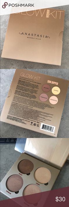 Anastasia Beverly Hills Glowkit: SUN DIPPED Palette has been SWATCHED ONCE and used ONLY ONCE. These colors didn't work well with my skin tone. Basically brand new. And authentic. Anastasia Beverly Hills Makeup