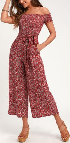d97a0f10e6c Behold Red Floral Print Off-the-Shoulder Jumpsuit