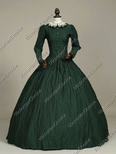 This lovely Victorian dress is in the style of the 1950s with a high modest neckline. By Victorian Choice.