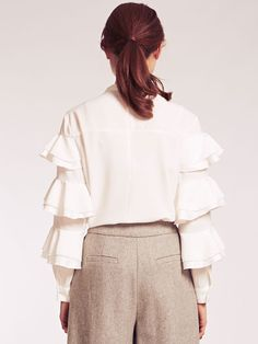 Betty White Tiered Frill Crepe Blouse