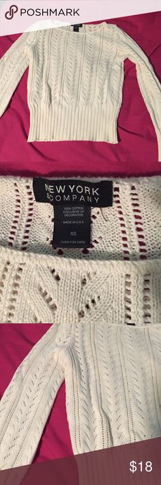New York & Company Sweater Cutest design. Color is more ivory / creme. Excellent condition, worn once or twice. Just getting rid of some sweaters & this is literally just like new. Lots of life left! New York & Company Sweaters Crew & Scoop Necks